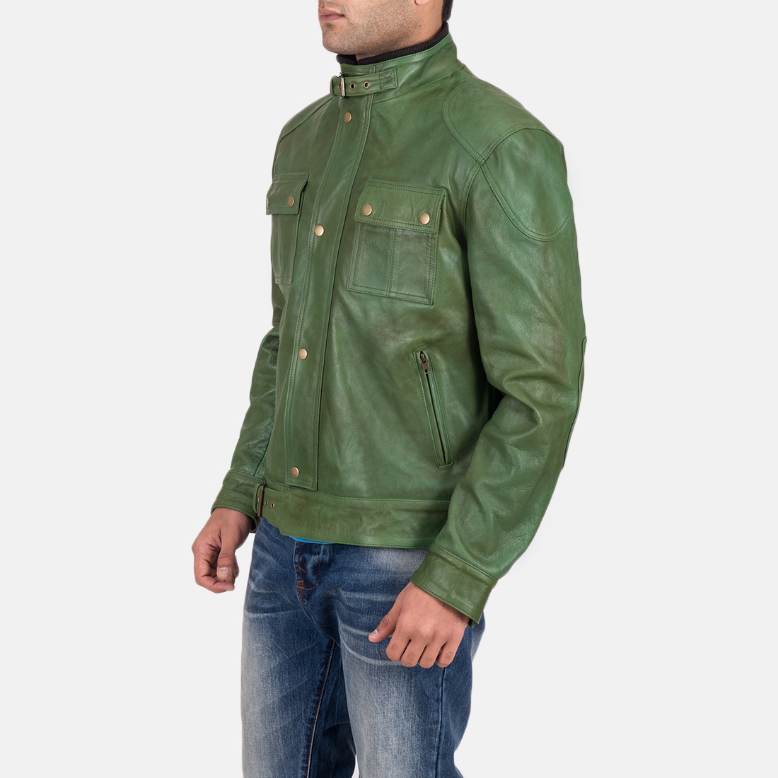 Men's Krypton Distressed Green Leather Jacket 4
