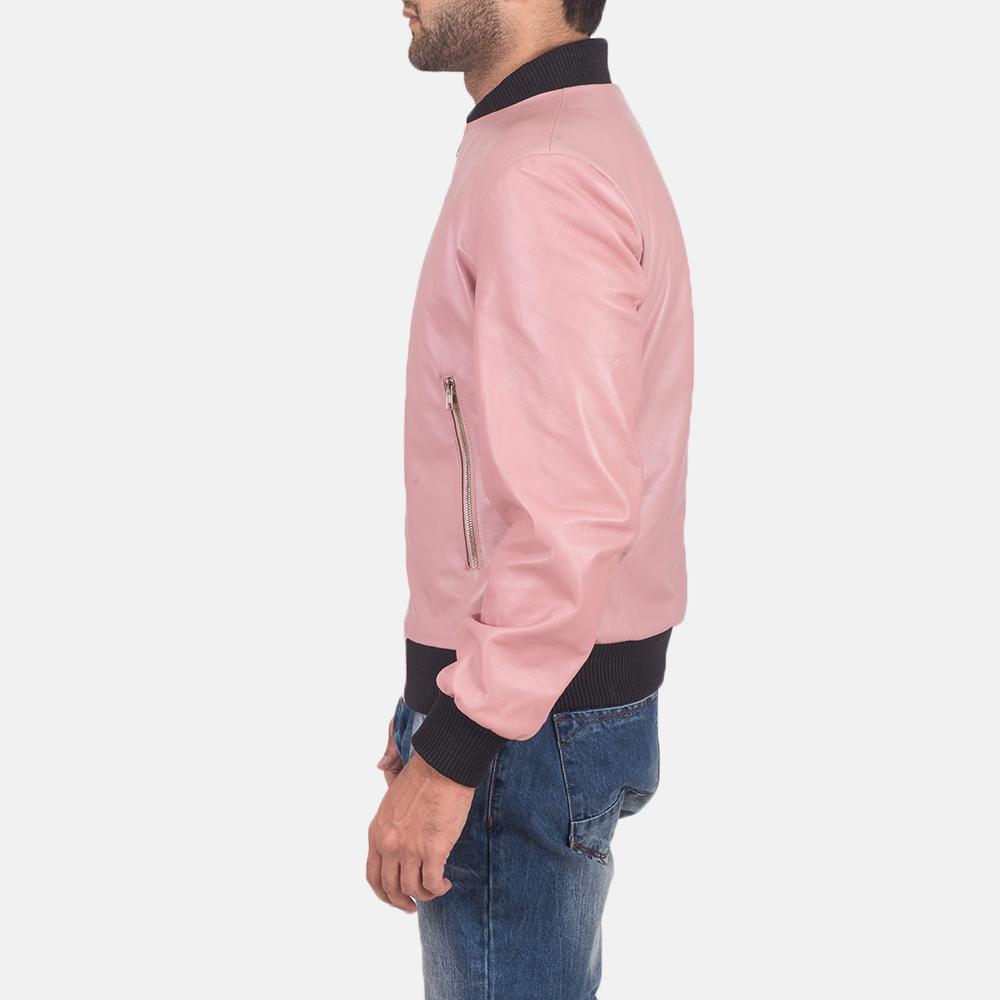 Men's Shane Pink Leather Bomber Jacket 5