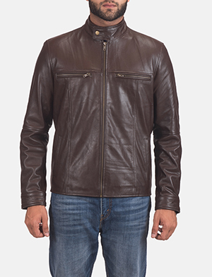 Mens Mel Brown Leather Biker Jacket