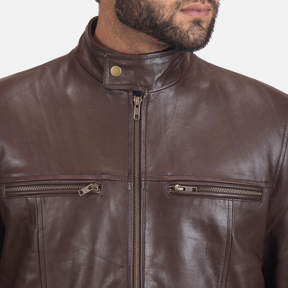 Mens Mel Brown Leather Biker Jacket 5
