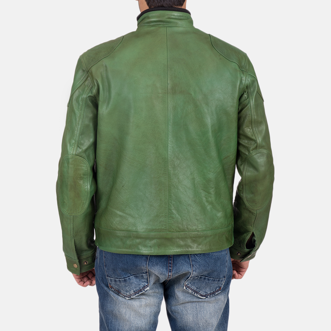 Men's Krypton Distressed Green Leather Jacket 7