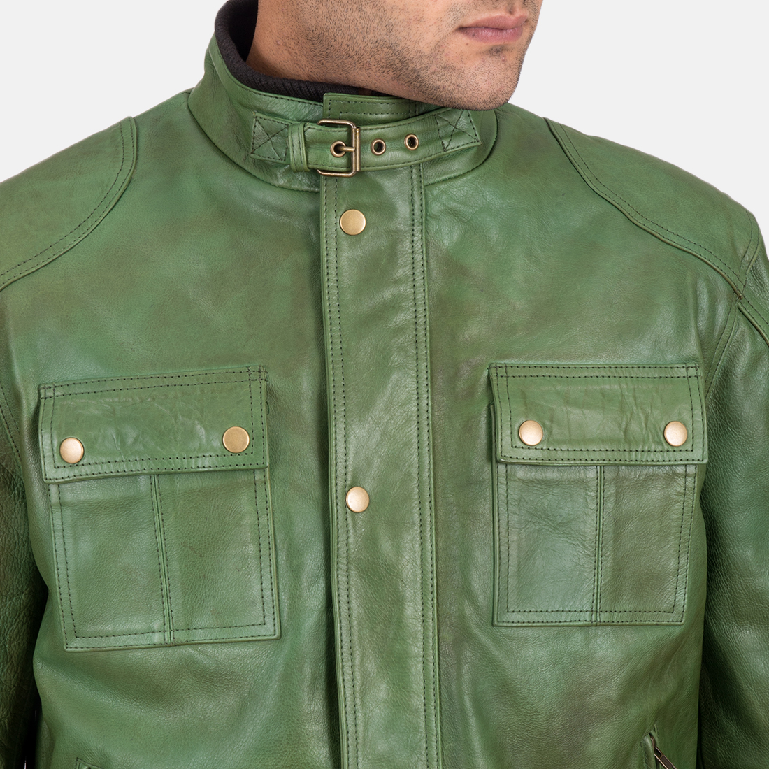Men's Krypton Distressed Green Leather Jacket 5