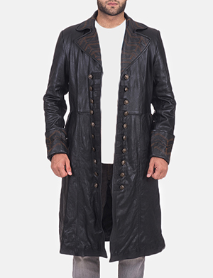 Mens Pirate Black Leather Coat