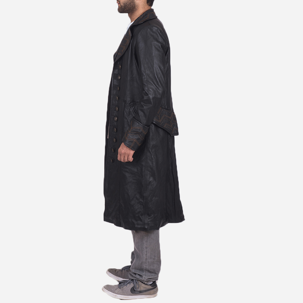Mens Pirate Black Leather Coat 4