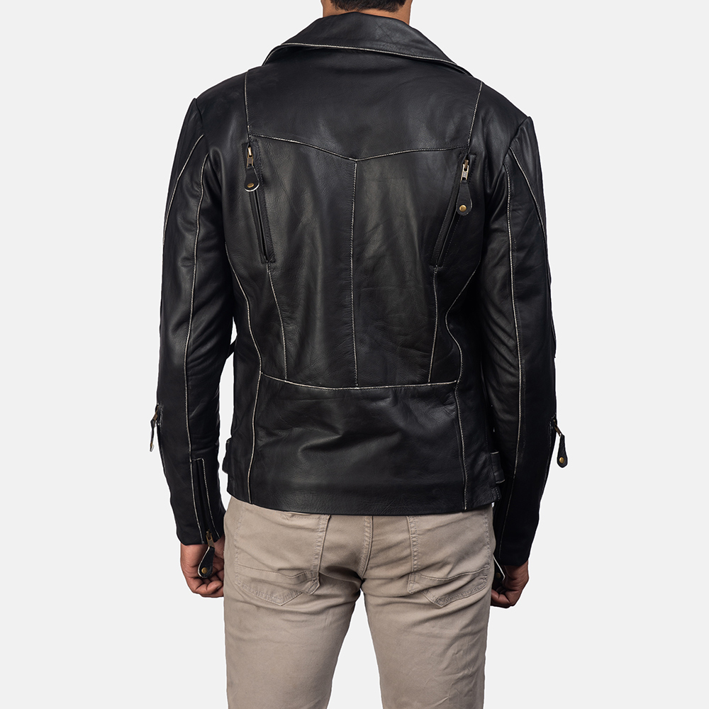 Mens Vincent Black Leather Biker Jacket 4