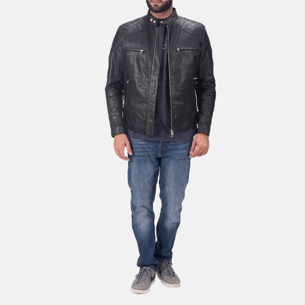 Mens Gatsby Black Leather Biker Jacket 2