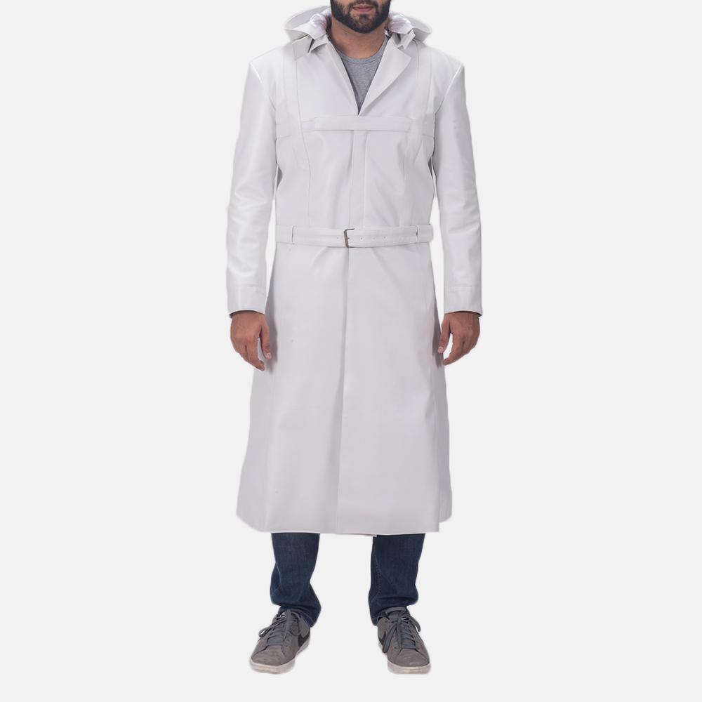 Auburn Cane White Leather Coat 2