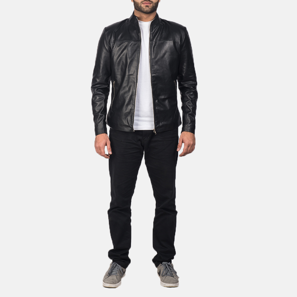 Mens Adornica Black Leather Jacket 7