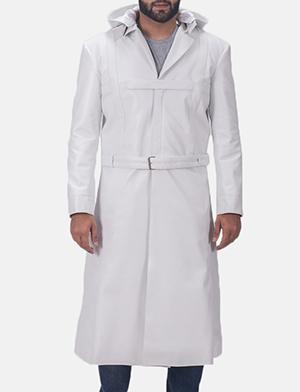 Auburn Cane White Leather Coat 1