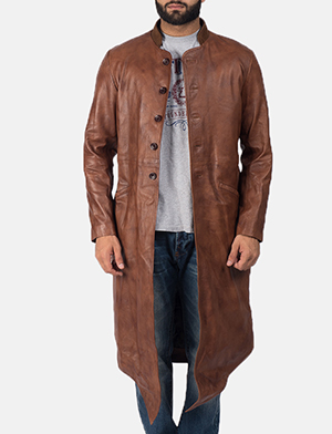 Men's Phixius Brown Leather Coat 1
