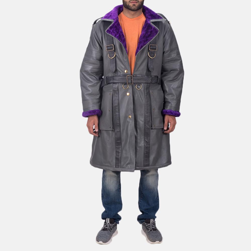 Mens Vintage Cole Grey Leather Coat 2