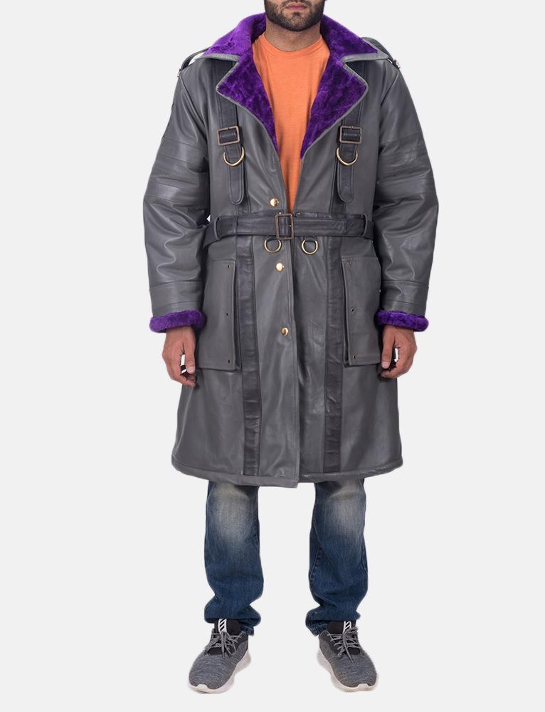 Mens Vintage Cole Grey Leather Coat 1