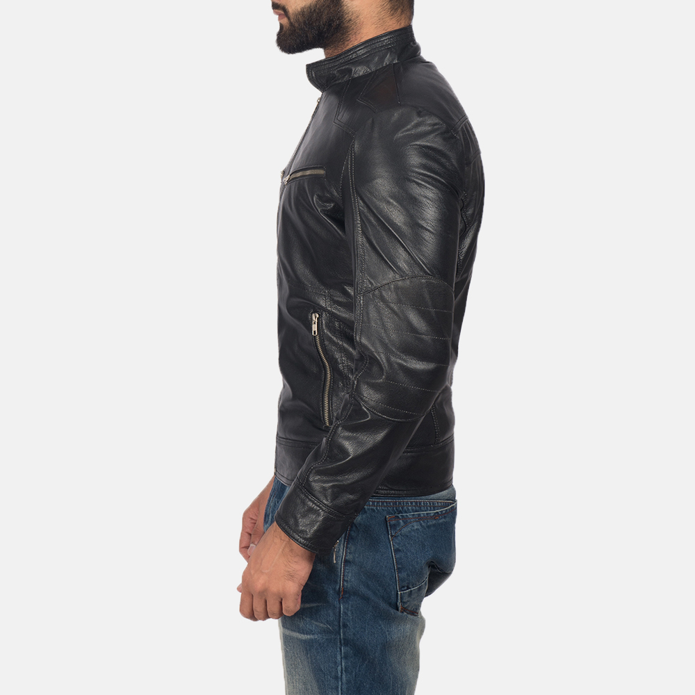 Men's Mack Black Leather Biker Jacket 4