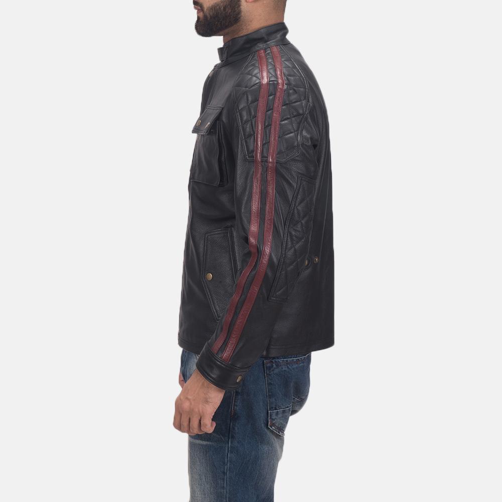 Men's Darren Black Leather Biker Jacket 4