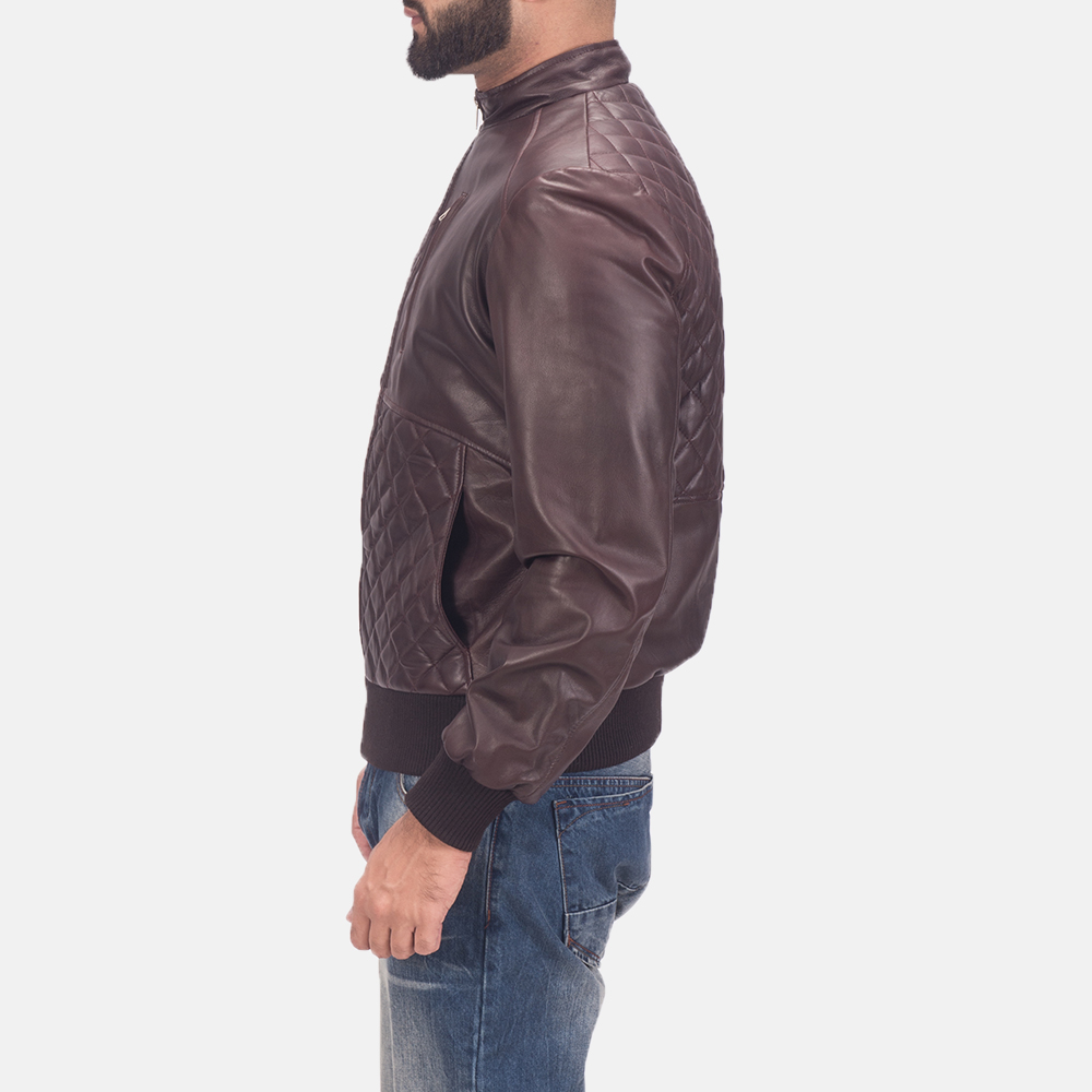 Mens Moda Quilted Maroon Leather Bomber Jacket 5