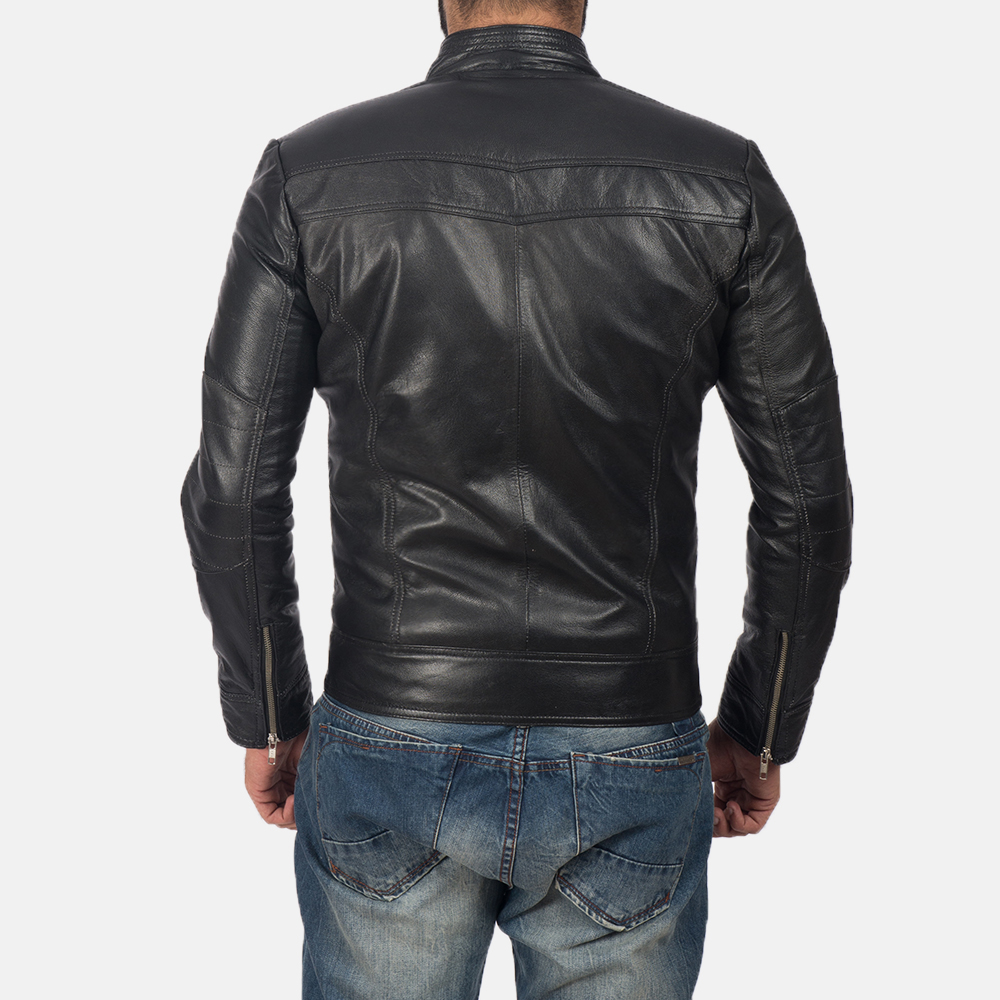 Men's Mack Black Leather Biker Jacket 5