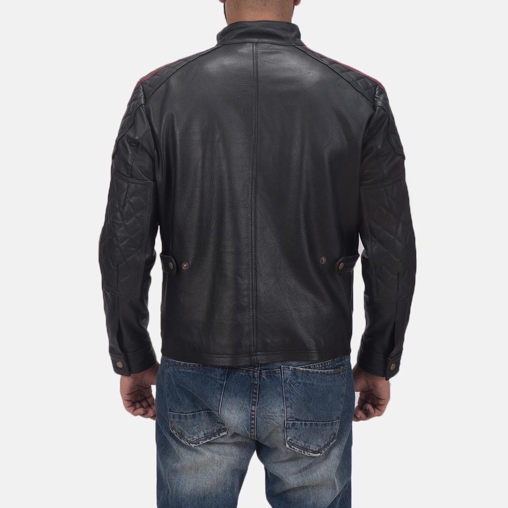 Men's Darren Black Leather Biker Jacket 5