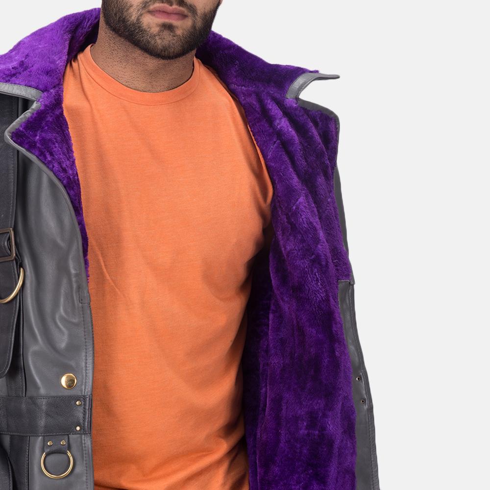 Mens Vintage Cole Grey Leather Coat 7