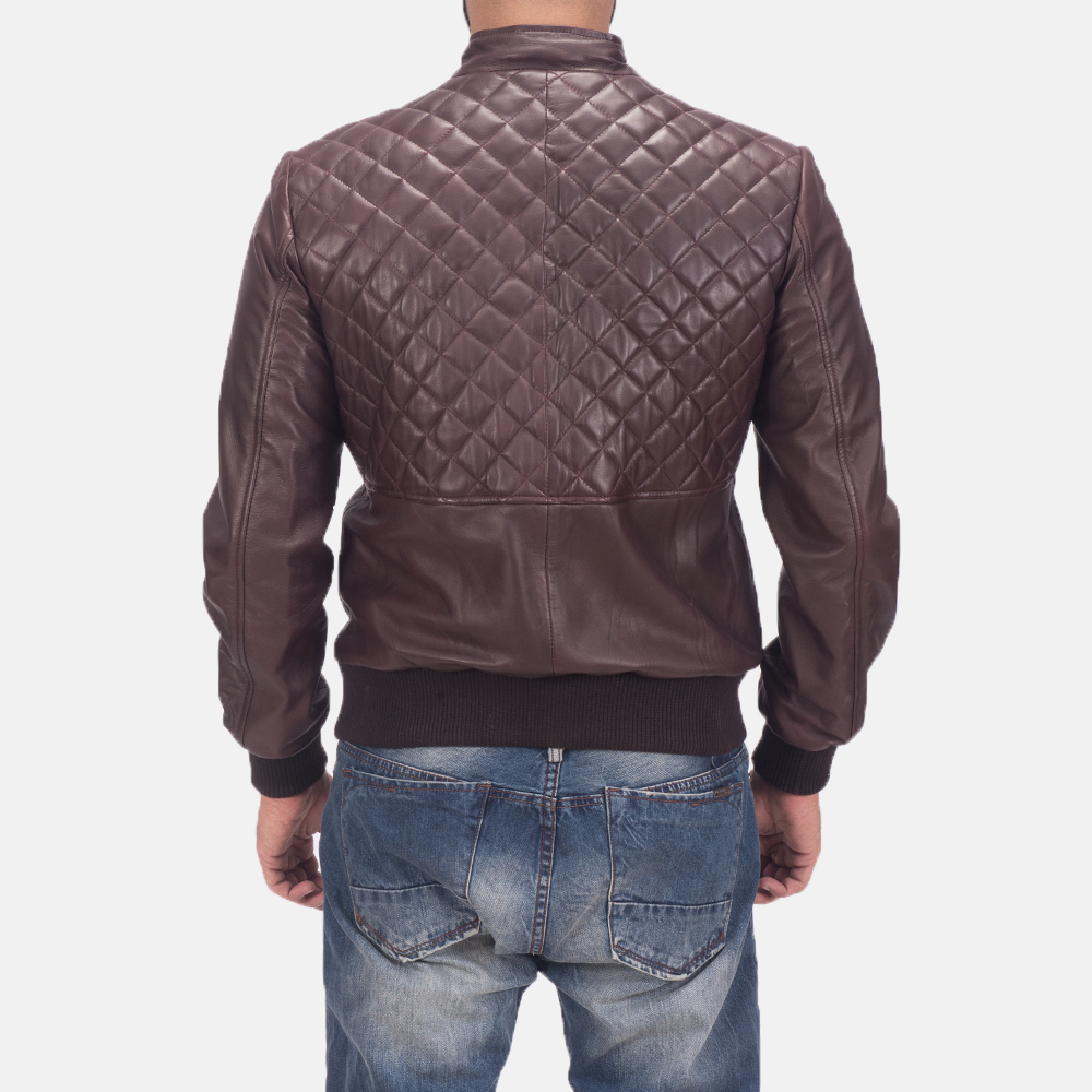 Mens Moda Quilted Maroon Leather Bomber Jacket 3