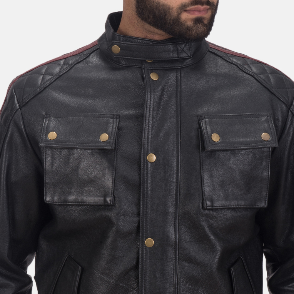 Men's Darren Black Leather Biker Jacket 6