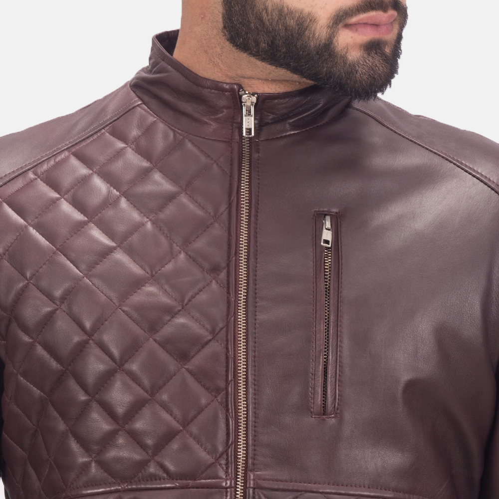 Mens Moda Quilted Maroon Leather Bomber Jacket 6