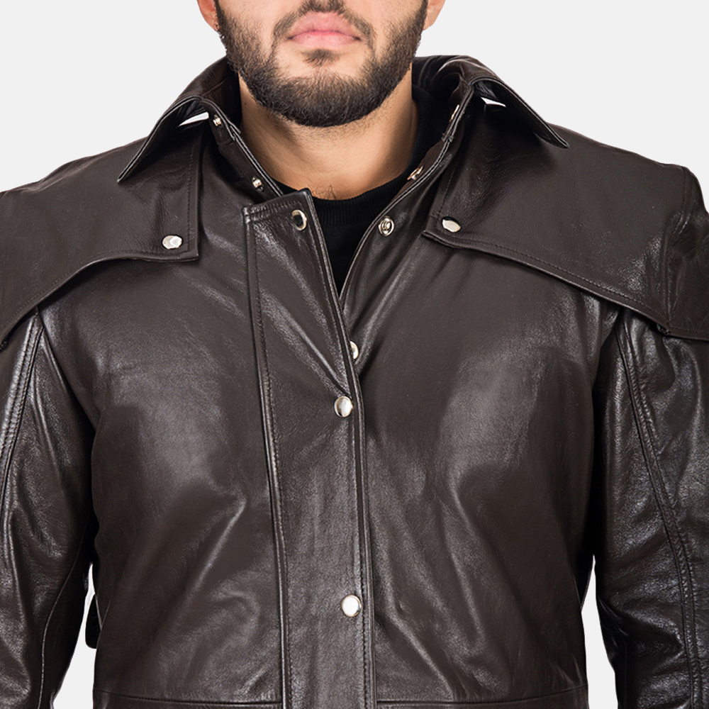 Men's Alexander Brown Leather Duster 4
