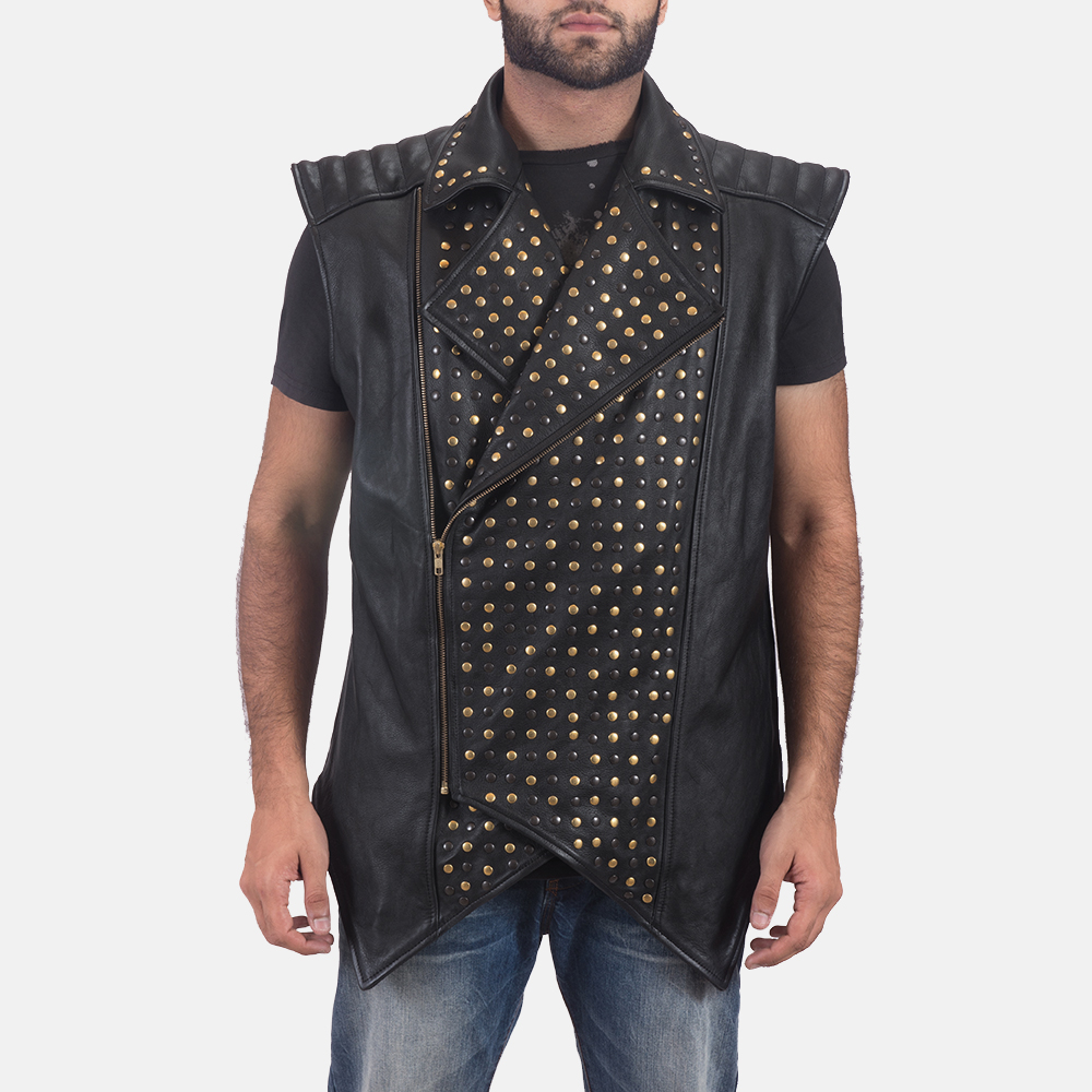 Mens Dominio Deval Black Leather Studded Vest 6
