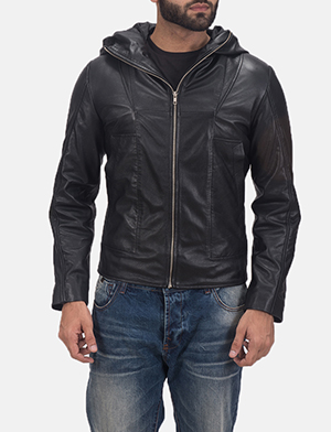 Men's Spratt Black Hooded Leather Jacket