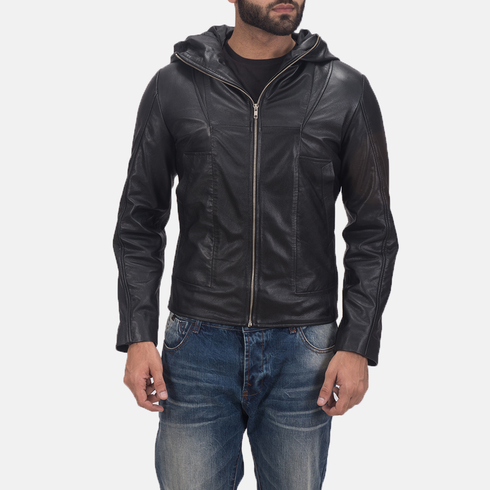 Men's Spratt Black Hooded Leather Jacket 1