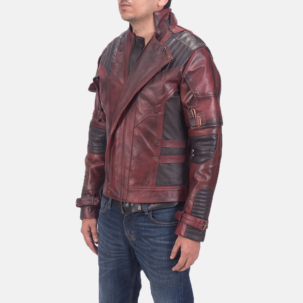 Mens Mars Maroon 2 Leather Jacket 3