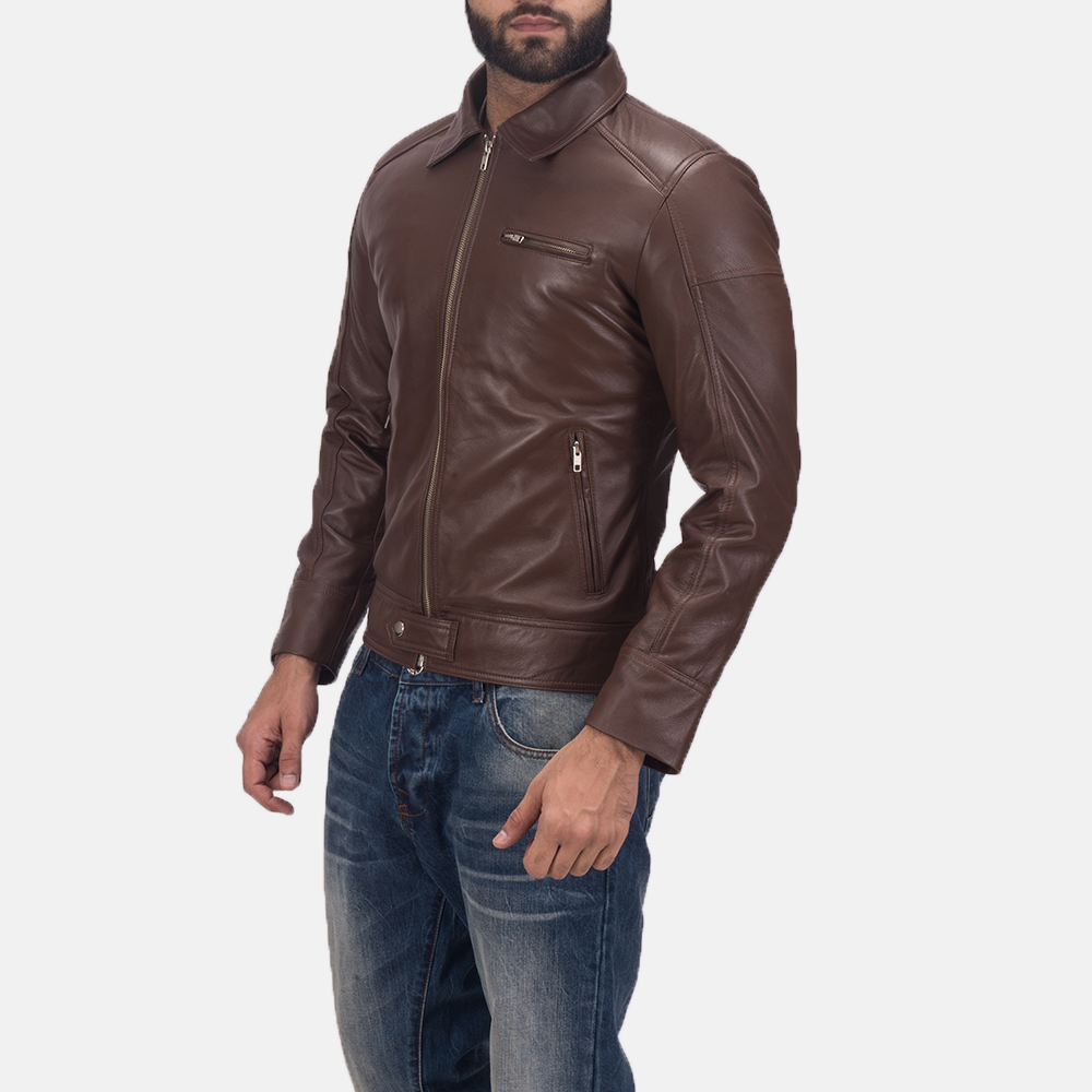 Men's Tim Brown Leather Biker Jacket 3