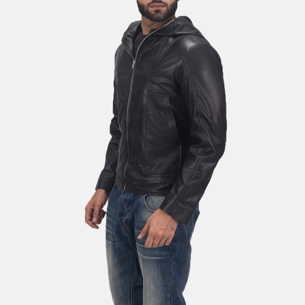 Men's Spratt Black Hooded Leather Jacket 3