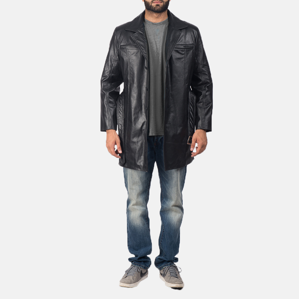 Men's Jordan Black Leather Coat 2