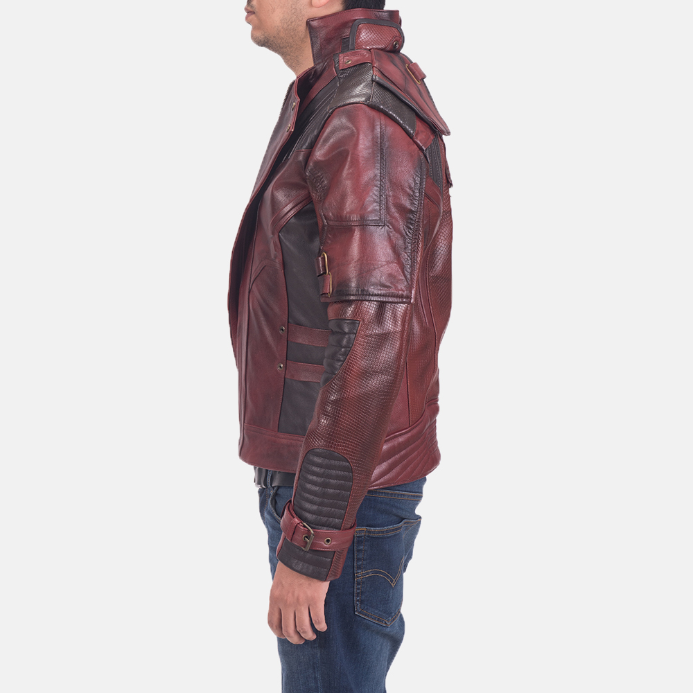 Mens Mars Maroon 2 Leather Jacket 5