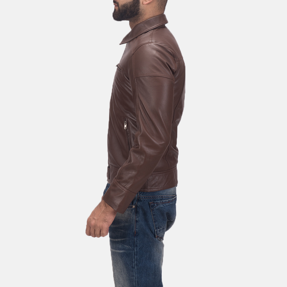 Men's Tim Brown Leather Biker Jacket 4