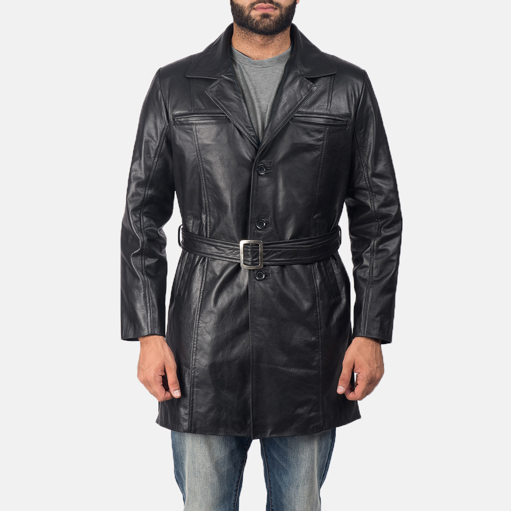 Men's Jordan Black Leather Coat 1