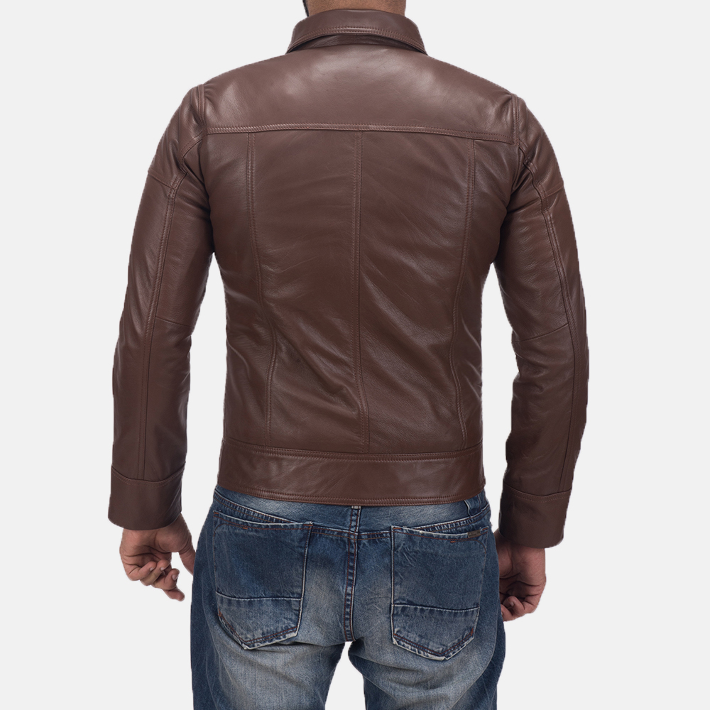 Men's Tim Brown Leather Biker Jacket 5