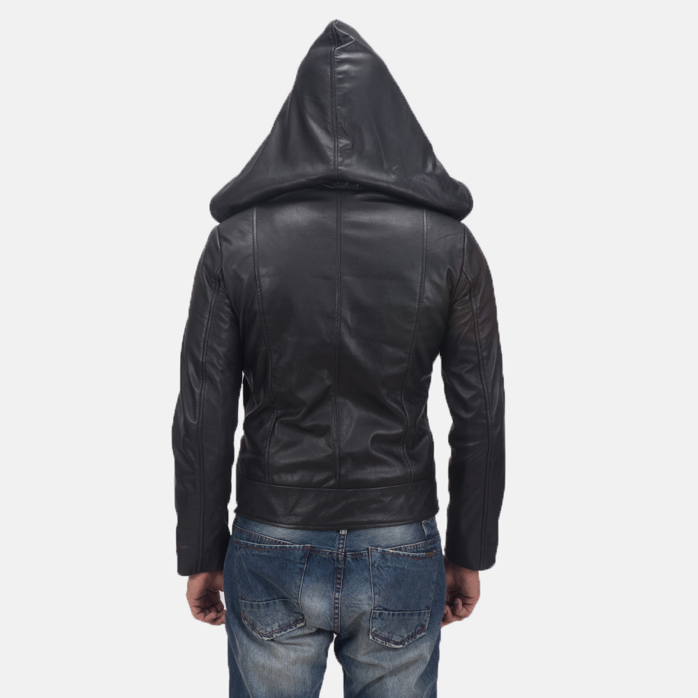 Men's Spratt Black Hooded Leather Jacket 5