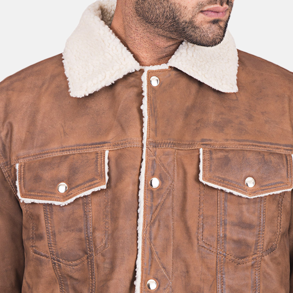 Mens Carter Distressed Brown Fur Jacket 4