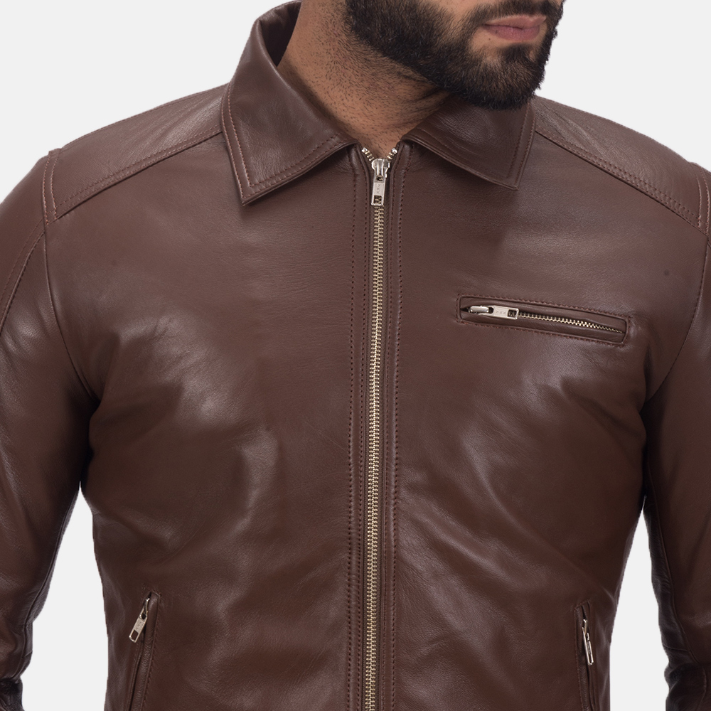 Men's Tim Brown Leather Biker Jacket 6