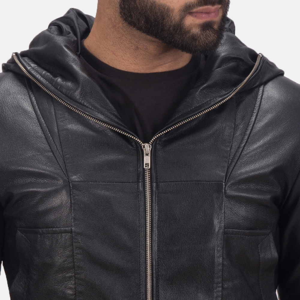 Men's Spratt Black Hooded Leather Jacket 6