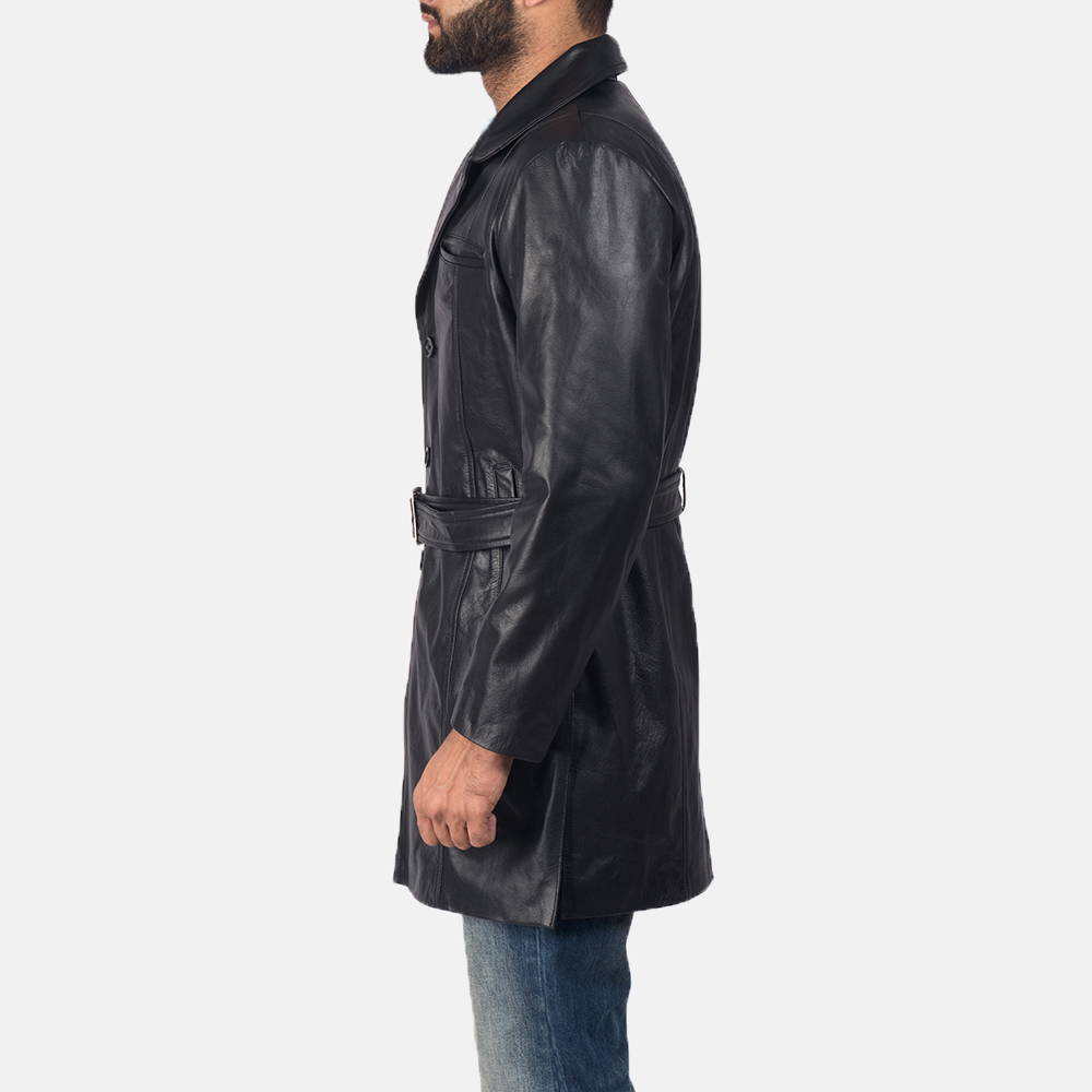 Men's Jordan Black Leather Coat 4