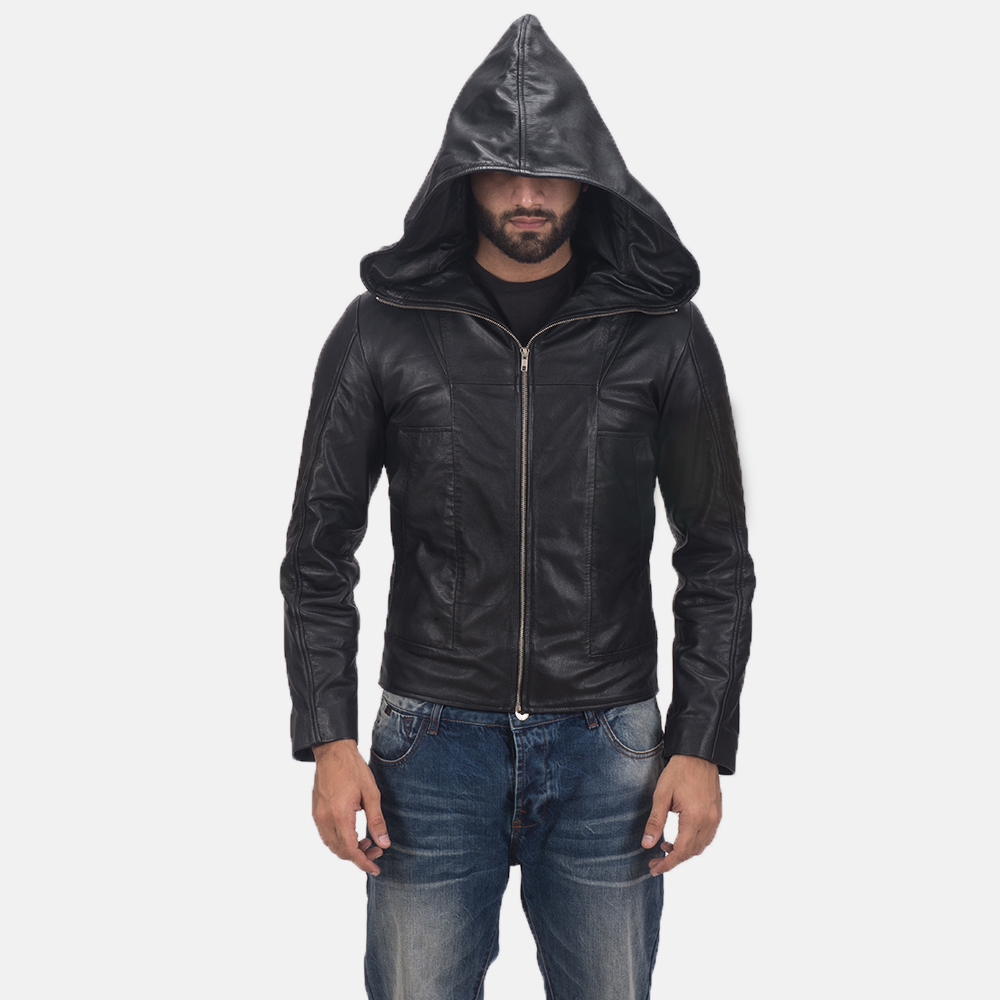 Men's Spratt Black Hooded Leather Jacket 7