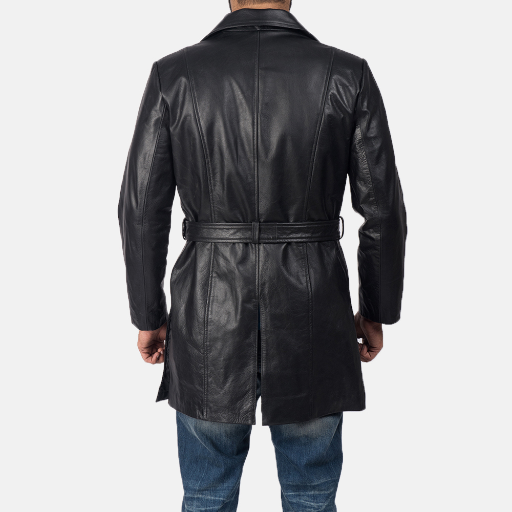 Men's Jordan Black Leather Coat 5