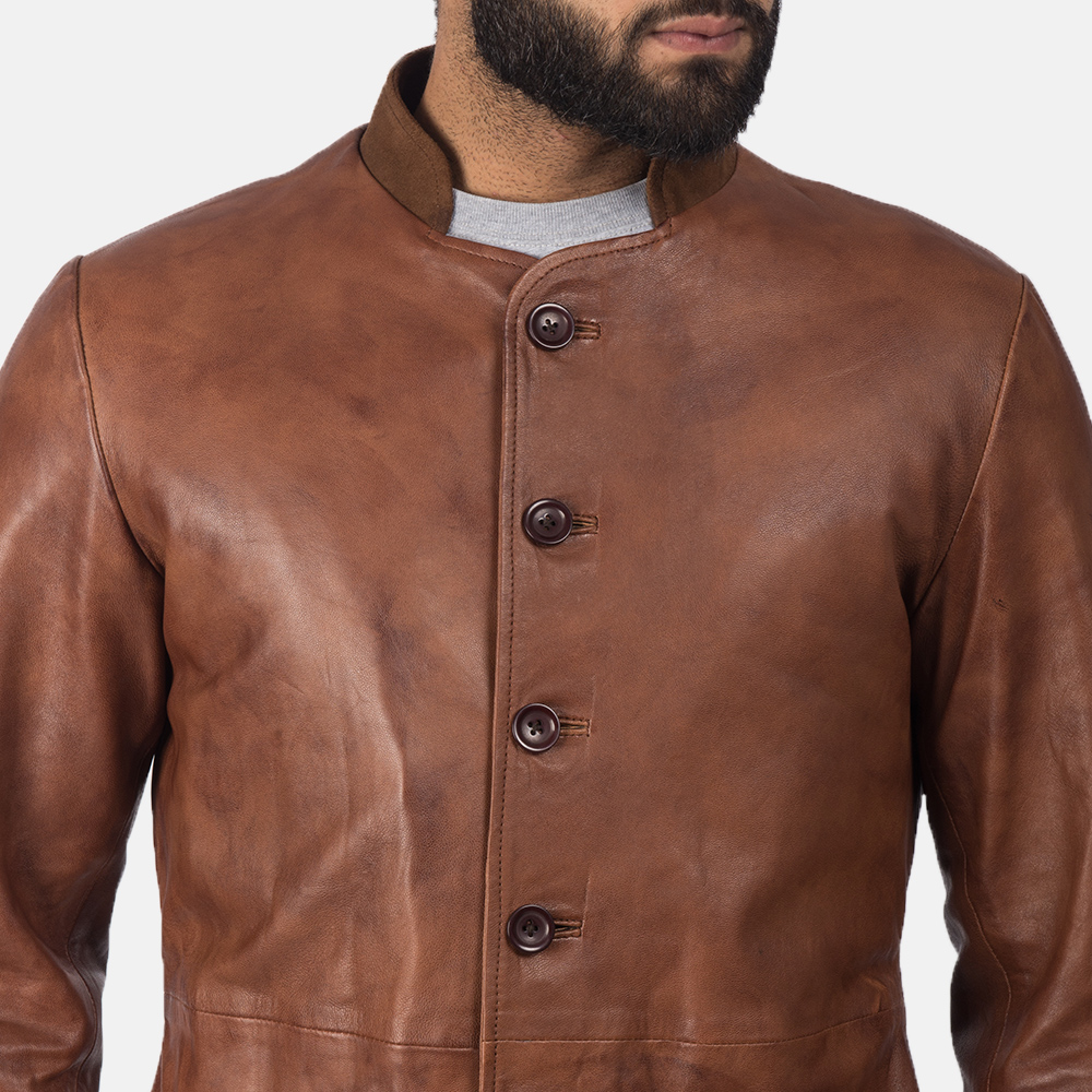Men's Phixius Brown Leather Coat 7