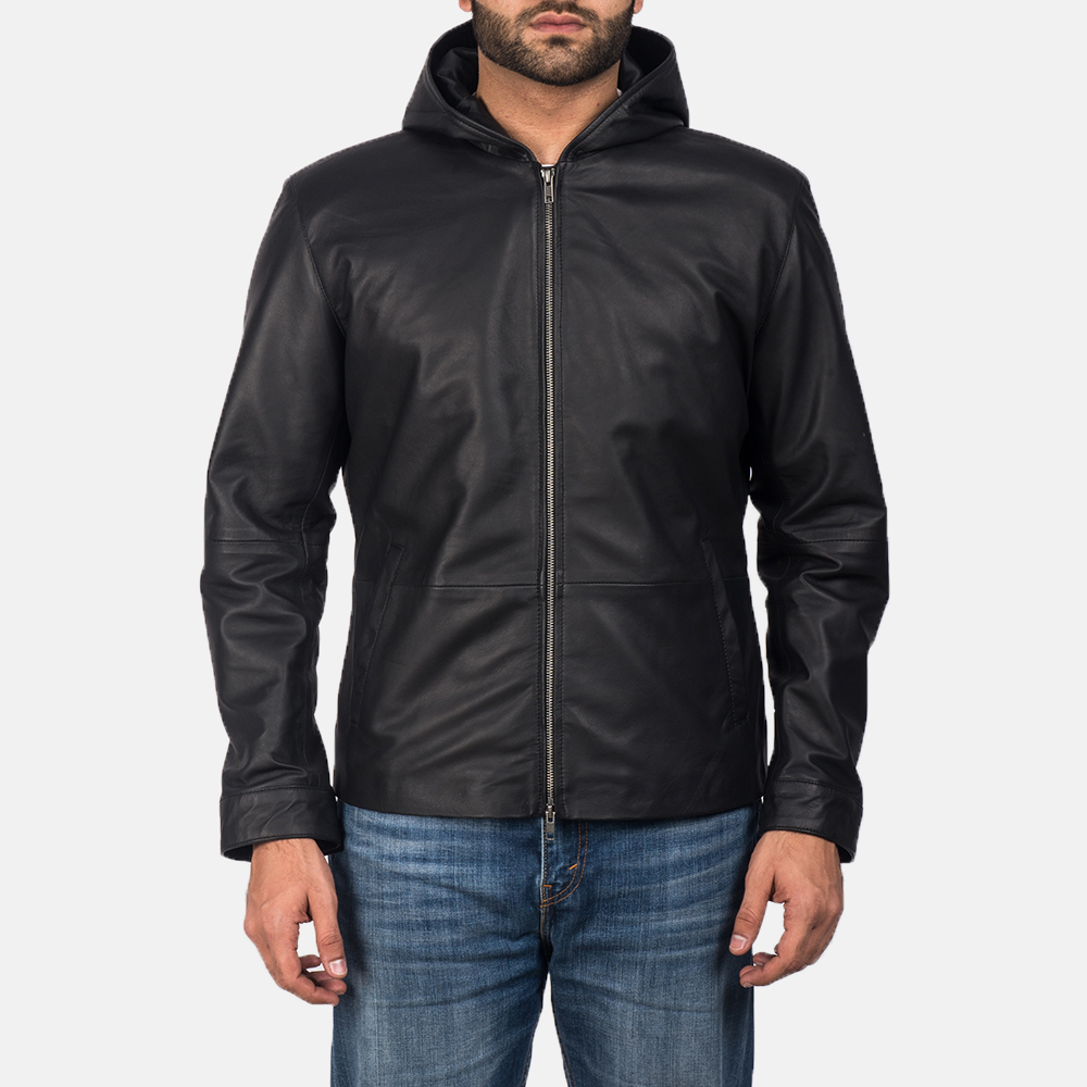 Men's Andy Matte Black Hooded Leather Jacket 1