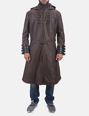 Men's Architect Brown Leather Trench Coat 1