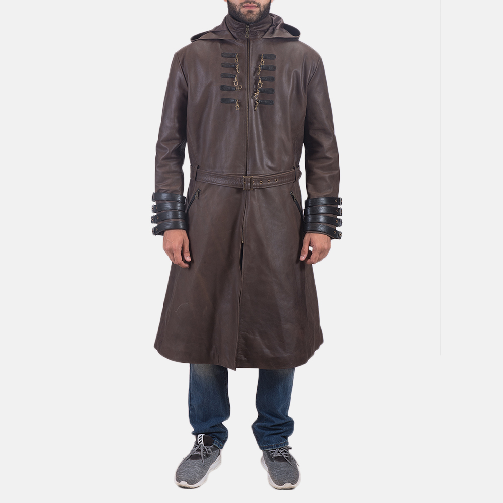 Men's Architect Brown Leather Trench Coat 2