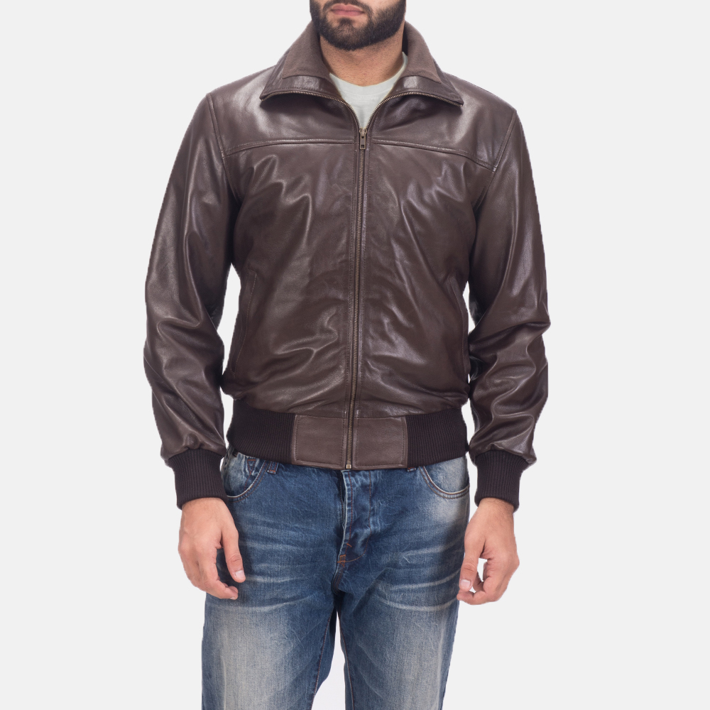 Men's Air Rolf Brown Leather Bomber Jacket 1
