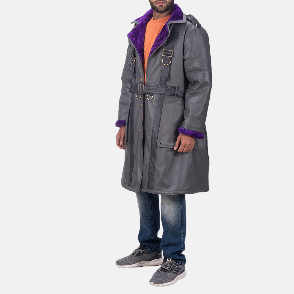 Mens Vintage Cole Grey Leather Coat 3